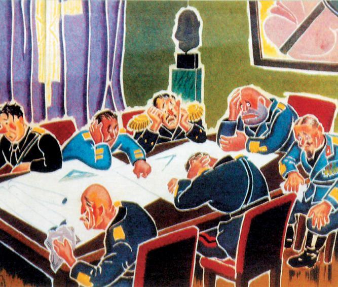 Σκίτσο για την ατμόσφαιρα στο πολεμικό συμβούλιο της Ιταλίας, μετά την παταγώδη αποτυχία του σχεδίου εισβολής.