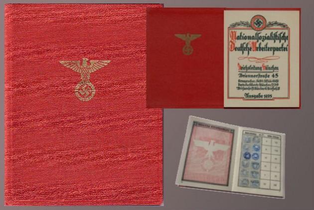 Πιστοποιητικό βιβλιαράκι μέλους του  Εθνικοσοσιαλιστικού Κόμματος Γερμανίας (NSDAP)