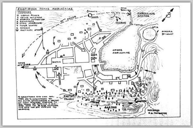 Σχεδιάγραμμα της μάχης της Αμφιλοχίας από τον αξιωματικό του ΕΛΑΣ, Βασίλη Σκιαδά