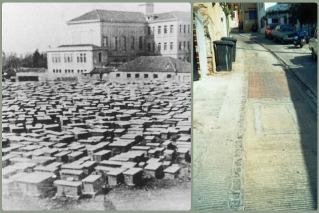 Το εβραϊκό νεκροταφείο της Θεσσαλονίκης, πριν από την καταστροφή του (1942). Τα ίχνη από τις επιτύμβιες πλάκες που χρησιμοποιήθηκαν ως πλακόστρωση στην Ανω Πόλη είναι ακόμη ορατά
