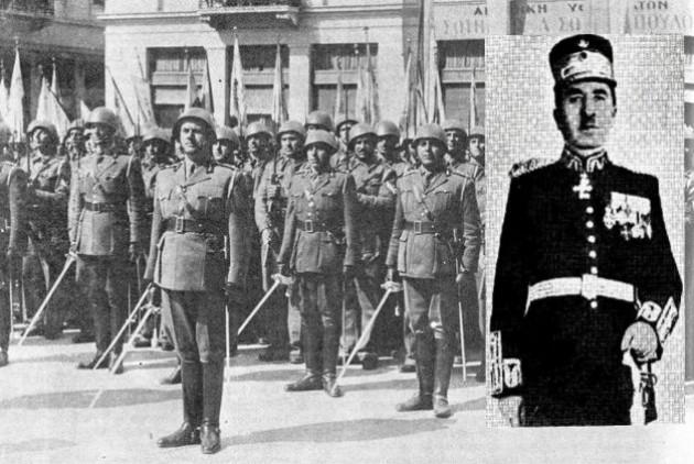 Αριστερά: άνδρες του Συντάγματος Χωροφυλακής Αθηνών, στην πρώτη εθνική γιορτή μετά τα Δεκεμβριανά (25/3/1945). Δεξιά: ο κατοχικός διοικητής της Χωροφυλακής, στρατηγός Ντάκος.
