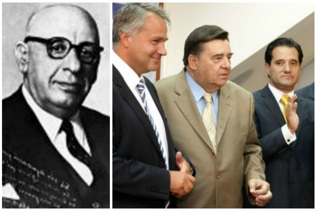 Ο Κωνσταντίνος Μανιαδάκης (αριστερά) και οι επίδοξοι συνεχιστές του έργου του όσον αφορά την «αποκαθήλωση» των ενοχλητικών ηρώων