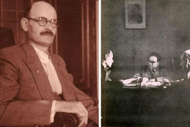 Αριστερά, ο Νίκος Πλουμπίδης σε φωτογραφία του 1945. Δεξιά, ο Γιάννης Ιωαννίδης σε σύσκεψη της ίδιας εποχής